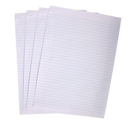 Exam Paper A4 8mm Feint  Margin Punched 1 Hole Top Left Pack 500s