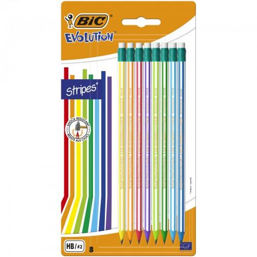 Bic Evolution Striped Eraser Tipped Pencils Packs Of 8 Blister Carded