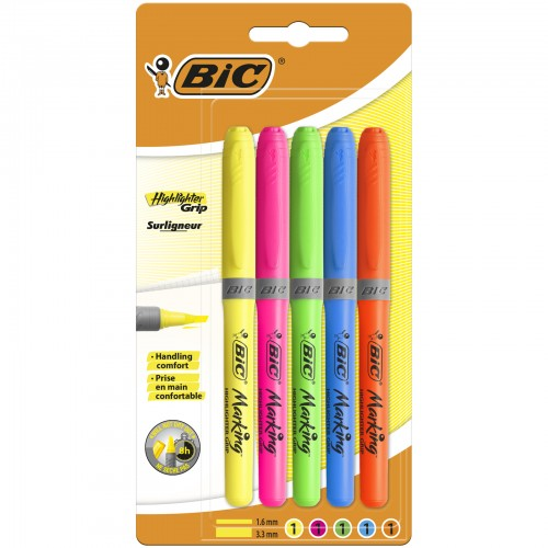 Bic Brite Liner Grip Highlighters Assorted Packs Of 5 Blister Carded
