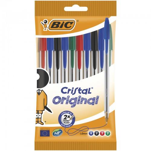 Bic Cristal Ballpoint Pen Medium Assorted  Pack of 10