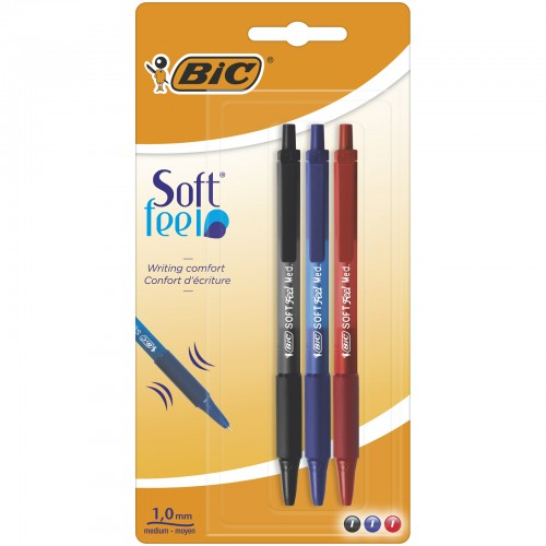 Bic Soft Feel Clic Grip Ballpoint Pens Assorted Colours Blister Cards Of 3
