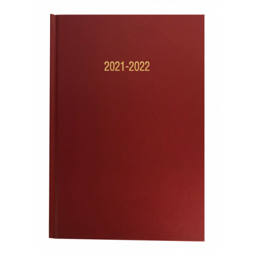 A4 Academic Diary Page A Day Burgundy 2021/22