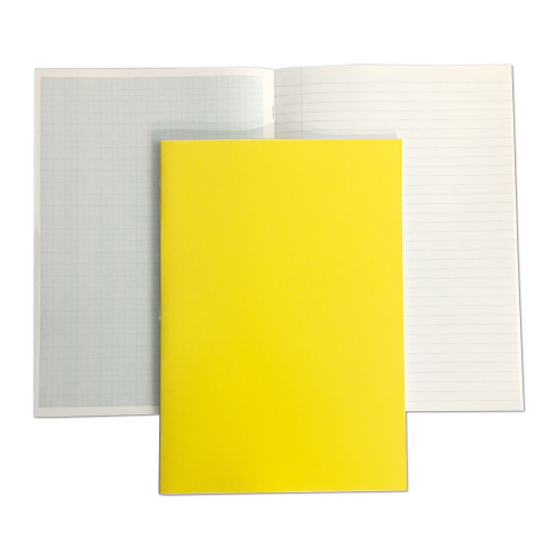 Laboratory Book  Laminated A4 64 Pages 8mm Feint Margin Alternate Graph 2/10/20mm Yellow