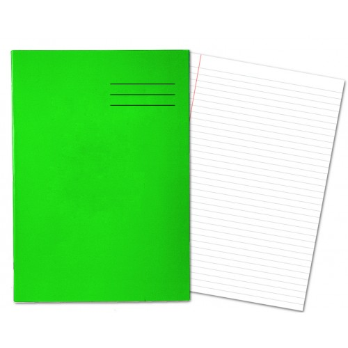 Laminated Exercise Books A4 80 Pages 8mm Feint  Margin Green 400004552