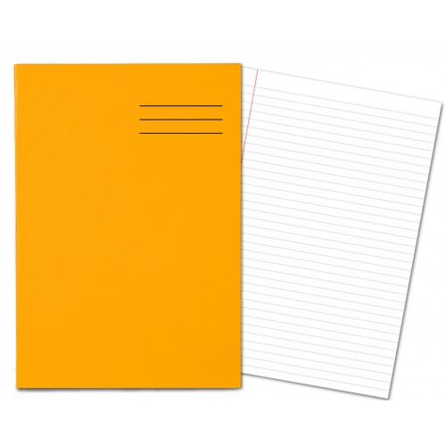 Laminated Exercise Books A4 80 Pages 8mm Feint  Margin Orange 400004553