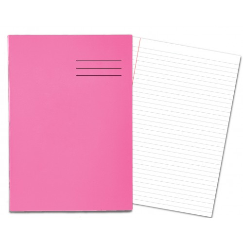 Laminated Exercise Books A4 80 Pages 8mm Feint  Margin Pink 400004554
