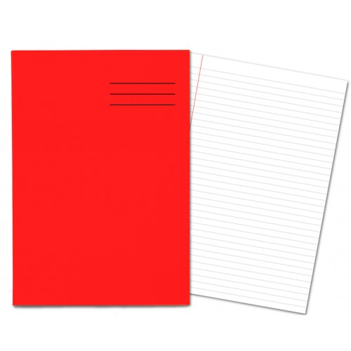 Laminated Exercise Books A4 80 Pages 8mm Feint  Margin Red 400004556