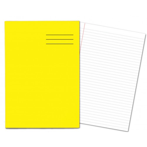 Laminated Exercise Books A4 80 Pages 8mm Feint  Margin Yellow 400004557