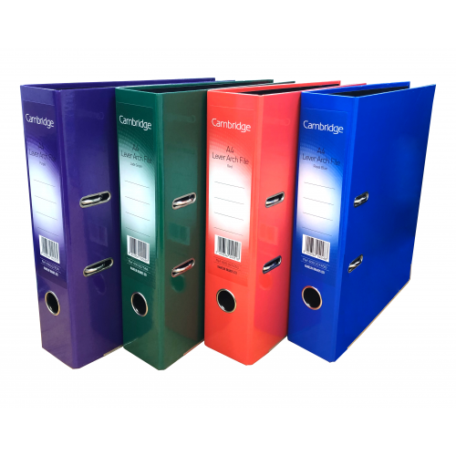 Value Laminated Lever Arch Files A4 Assorted