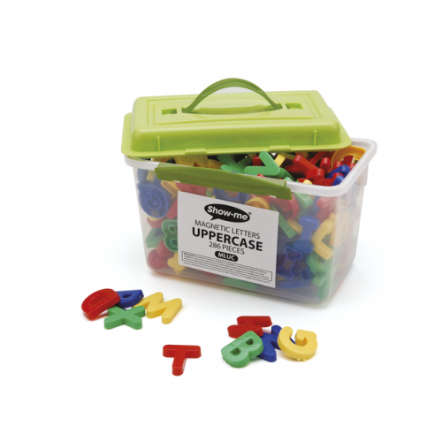 Show Me Magnetic Letters Uppercase Pack Of 286 In A Storage Tub With Green Lid