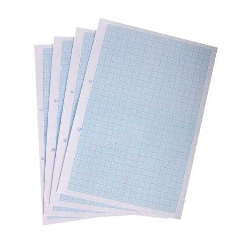 Graph Paper A4 1/5/10mm Squares Blue Ruling Punched Pack 500s