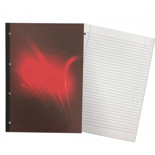 Manilla Cover A4 Refill Pads 80 Leaf 8mm Feint  Margin Red Cover