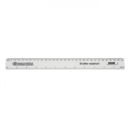 Clear Shatterproof Plastic Ruler 30cm