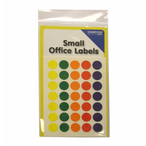 Small Packs Office Labels 13mm Assorted Colours Spots Pack 225s