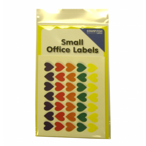 Small Packs Office Labels 13mm Hearts Assorted Pack 135s