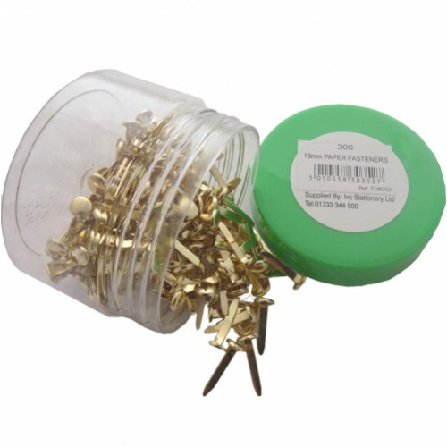Brass Paper Fasteners 19mm Tub 200s