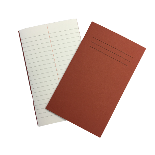 Vocab Books 6.25'' x 4'' 48 Pages 6mm Feint With Centre Margin Red