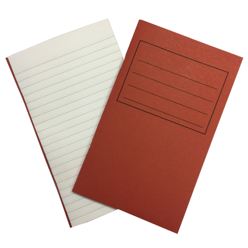Vocab Books 6.25'' x 4'' 80 Pages 7mm Feint Ruled Red
