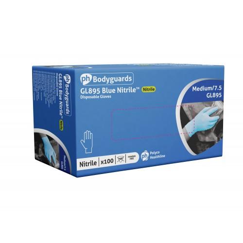 Polyco GL895 Blue Nitrile Gloves Medium Pk 100