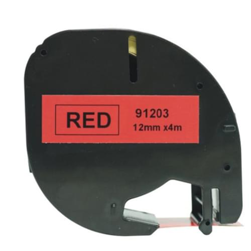 Compatible Dymo S0721630 Plastic Labels 12mm x 4m Black on Red Label Tape