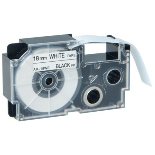 Compatible Casio XR-18WE 18mm Black on White Label-Making Tape