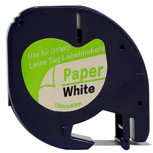 Compatible Dymo S0721510 91200 12mm x 4m Black On White Paper Tape