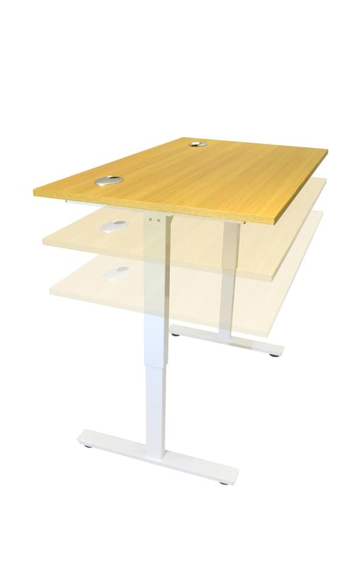 1800 x 800mm Electric Height Adjustable Sit / Stand Desk Light Oak / White Frame