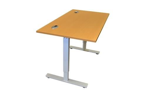 1600 x 800mm Electric Height Adjustable Sit / Stand Desk Beech/ Light Grey Frame