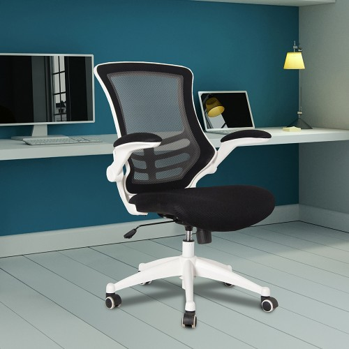 BAK White Frame Luca Chair - Black Mesh | BAK-05-04-WHK | BAK