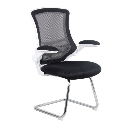 BAK White/Black Luca Visitor Chair with Chrome Frame | BAK-05-05-WHK | BAK