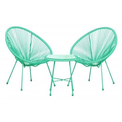 Marseille Green / Emerald 3pc Egg Chair Set
