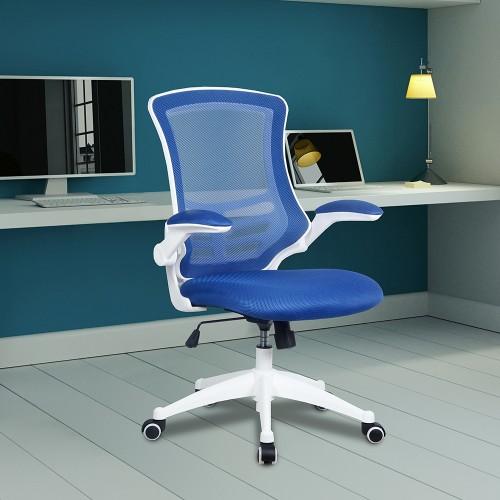 BAK White Frame Luca Chair - Blue Mesh   BAK-05-04-WHB   BAK