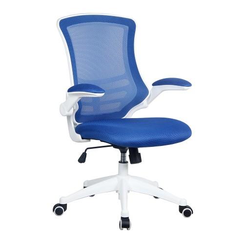 BAK White Frame Luca Chair - Blue Mesh