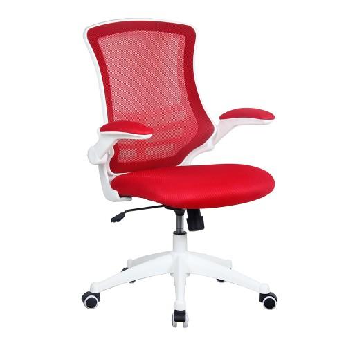 BAK White Frame Luca Chair - Red Mesh