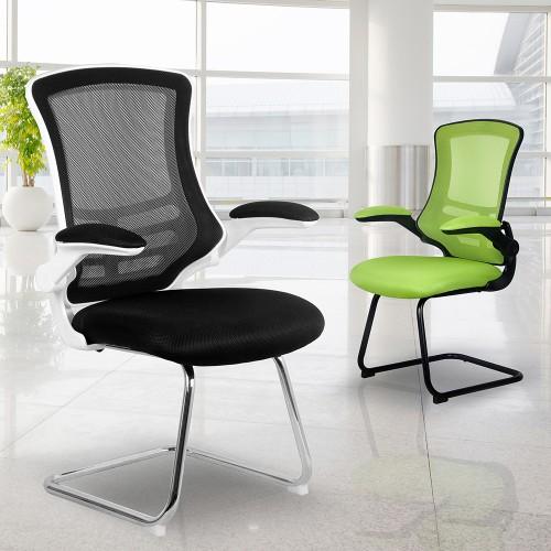 BAK White/Black Luca Visitor Chair with Chrome Frame | BAK-05-05-WHK | BAK