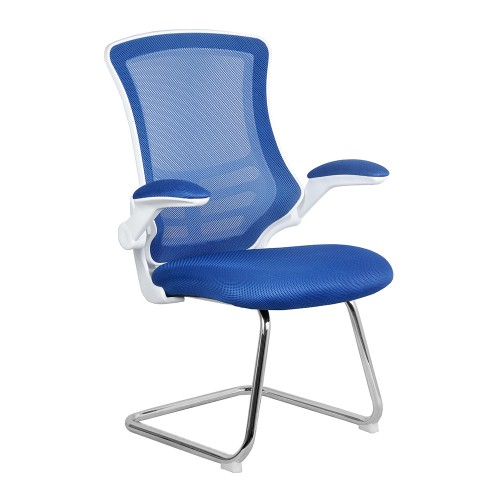 BAK White/Blue Luca Visitor Chair with Chrome Frame
