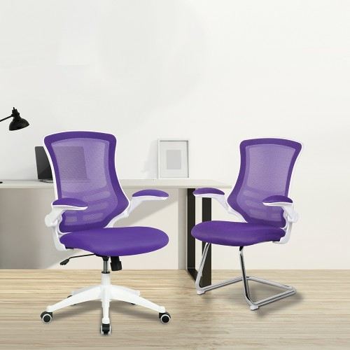 BAK White/Purple Luca Visitor Chair with Chrome Frame | BAK-05-05-WHP | BAK