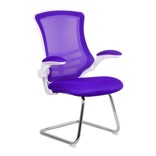 BAK White/Purple Luca Visitor Chair with Chrome Frame
