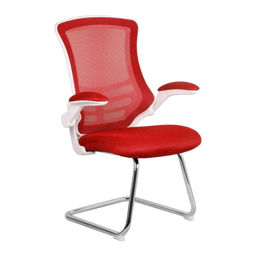 BAK White/Red Luca Visitor Chair with Chrome Frame