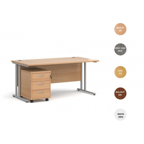 Straight Office Desk with 3 Drawer Pedestal