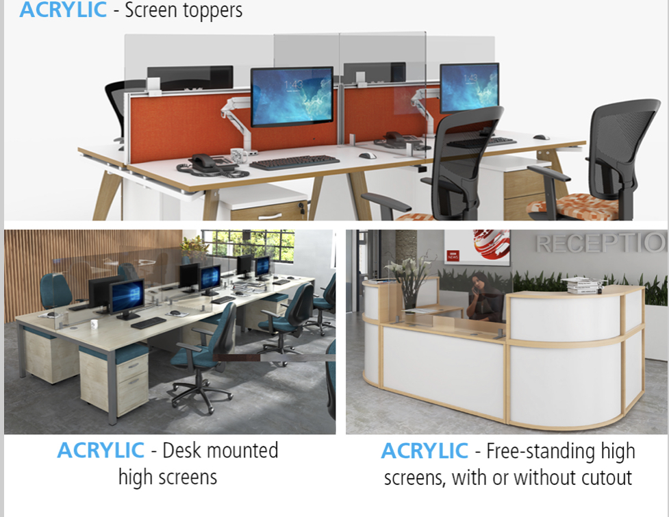 Acrylic desk mounted protective screens