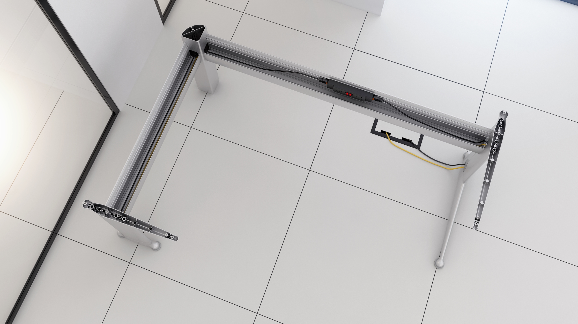 Wire managed leg frame