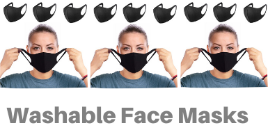 Black reusable washable face masks from Business Furniture Direct Limited Tel 01242 239786