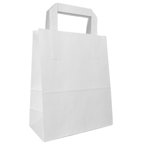 Tape Handle White Paper Carrier Bag (175x260x225mm) 250/box
