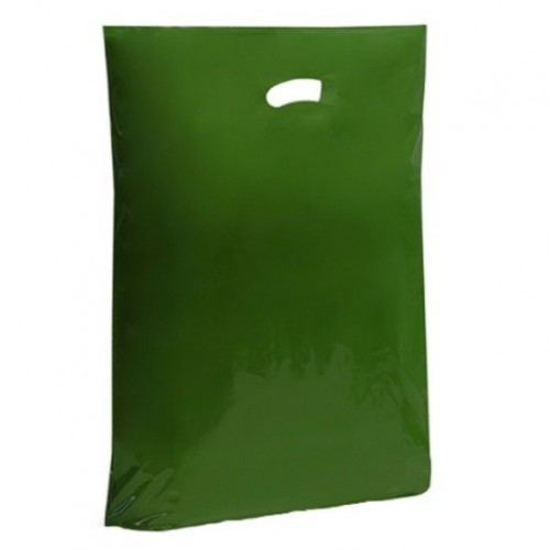 Harrods Green Polythene Punched Handle Carrier Bag (200x300mm) 500/box