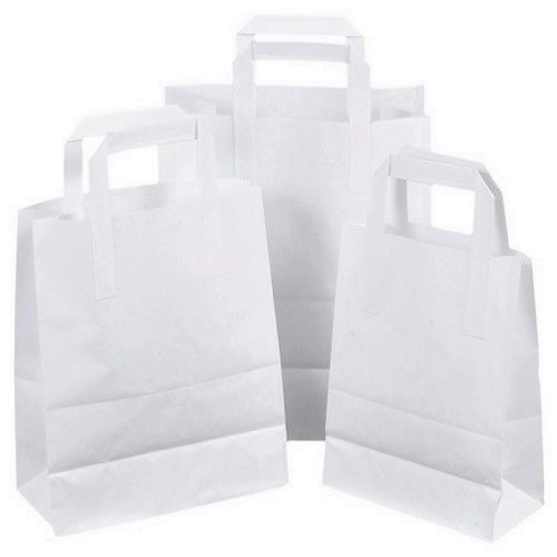White Paper Bags - Tape Handle | Eco-Friendly Carrier Bags