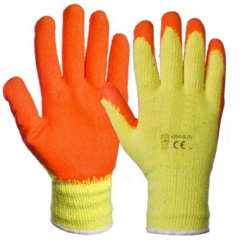 Orange Latex Palm Handling Gloves (One Size) 10 Pack
