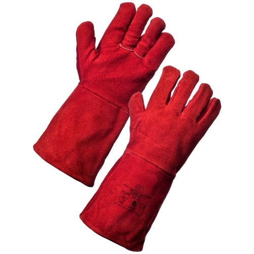 Red Welder Gauntlet Gloves (One Size) 1 Pair