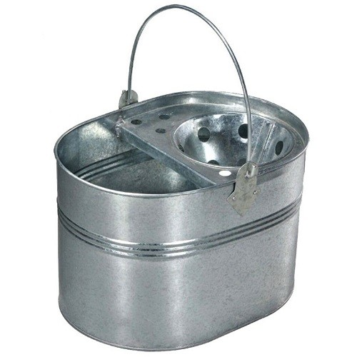 Galvanised Bucket with Steel Wringer  7 litres