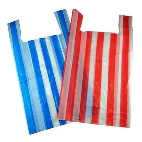Stripey Polythene Vest Carrier Bag (250x375x450mm) 1000/box